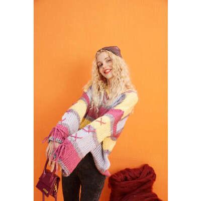 【2件2折:109】妖精的口袋马卡龙条纹毛衣2019秋季新款女宽松外穿套头慵懒针织衫 彩虹条纹也可以上身