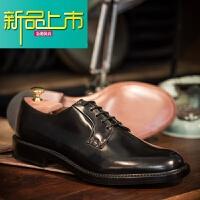 新品上市欧美男士牛皮圆头休闲皮鞋德比鞋英伦正装商务手工皮鞋皮鞋男 黑色