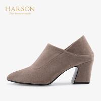 【 限时4折】哈森秋季通勤深口简约粗跟高跟鞋HL98801