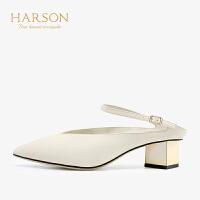 【 限时4折】哈森 2019春新款羊皮革尖头浅口单鞋女HM93410