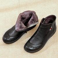 妈妈棉鞋女滑软底中老年人女鞋保暖雪地短靴女加绒中年皮鞋