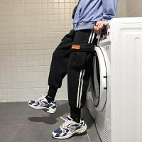 秋冬季嘻哈运动裤子男韩版宽松工装束脚裤加绒加厚卫裤