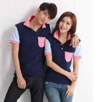 2016韩版休闲夏季新款贴布口袋短袖男女情侣衫 POLO衫