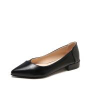 工作鞋尖头低跟单鞋2018新款女瓢鞋百搭软平底职业鞋女黑色皮鞋女