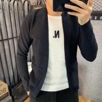 【秋冬新品】高端专柜品牌男士秋季纯色百搭针织衫假两件毛衣开衫外套薄款韩版修身V领线衣
