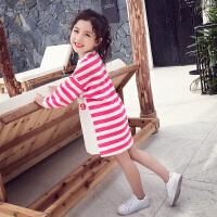 卫衣裙儿童长袖连衣裙长款条纹T恤裙