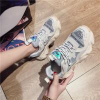 20190217051228639运动鞋女19年新款圆头厚底系带真皮牛皮老爹鞋学生时尚韩版跑步鞋