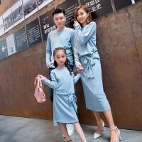 亲子装毛衣母女装秋装2019新款潮亲子装家装时尚长袖针织毛衣连衣裙裙子XMZQ156