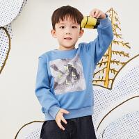 【5折券预估价:134.55元】马拉丁童装男大童卫衣春装2020年新款洋气图案宽松短款卫衣