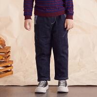 【券后�A估�r:113】�R拉丁童�b男童加�q保暖牛仔�2020冬季新款�和�口袋拼布�子