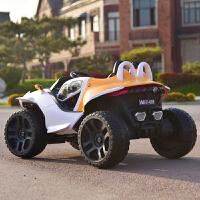 儿童电动汽车四轮可坐双人电动车4宝宝汽车遥控小孩玩具车可坐大人双人电瓶车超大 EVA轮胎四驱橙色皮座椅 摇摆+减震+风