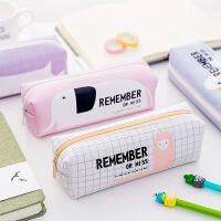 韩版可爱笔袋女大容量PU防水铅笔袋初高中学生用小清新简约文具盒