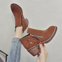 马丁靴女英伦风短筒2018新款百搭粗跟切尔西靴子女短靴冬高跟裸靴