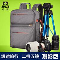 申派双肩摄影包多功能电脑包旅行包 单反包佳能700D 5D 7D相机包 新款专业单反相机包 二机五镜摄影双肩包防水旅行