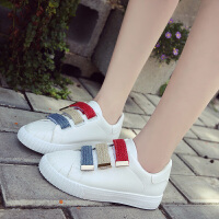 魔术贴小白鞋加绒加棉女鞋冬季韩版运动鞋学生百搭休闲鞋保暖板鞋 白色 单鞋,标准码661K