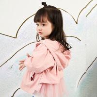 【5折券预估价:224.55元】马拉丁童装女小童外套春装2020年新款可爱粉色连帽风衣短外套