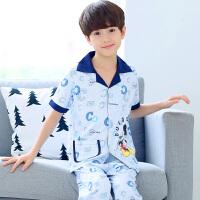 儿童睡衣男孩夏季薄款透气男童宝宝短袖长裤中大童家居服套装