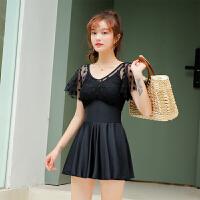 泳衣女保守遮肚显瘦连体裙式黑色带袖平角学生时尚韩国泡温泉游泳衣