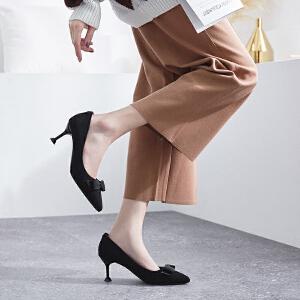 ZHR2019春季新款法式少女高跟鞋女宴会黑色细跟单鞋性感尖头女鞋