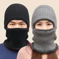 毛线帽子男女冬天针织套头帽加厚保暖骑车蒙面一体加绒围脖护耳帽