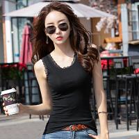 黑色紧身短款背心女春夏季女士棉蕾丝吊带无袖打底心机上衣