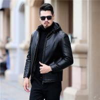 中年人男士连帽加绒皮衣爸爸装冬季加厚外套防寒外套2019冬季新款