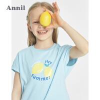 【2件4折价:42.8】安奈儿童装女童T恤洋气蝙蝠袖夏装2021新款女孩印花短袖上衣纯棉