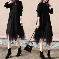 新年特惠秋冬装胖mm显瘦针织打底法式连衣裙两件套大码女装减龄洋气套装裙 黑色