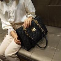 大包包秋新款女包欧美时尚菱格链条包潮锁扣单肩包百搭手提包 黑色 收藏后优先发货