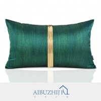 简约现代抱枕沙发样板间靠包现代中式祖母绿金链流苏靠垫腰枕 祖母绿