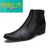 新品上市冬季新款真皮尖头短靴英伦潮流靴欧美男士皮靴时尚个性男靴