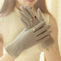 热卖 韩版双层羊毛手套优雅触屏分指女士时尚加厚秋冬季开车保暖 均码