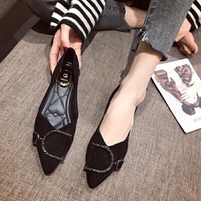 尖头平底鞋女单鞋2019新款四季单鞋低跟黑色工作鞋粗跟小跟女鞋春