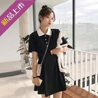 同款2019新款流行韩版气质收腰学院风学生polo连衣裙女夏季小清新裙子 黑色