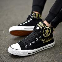 新款韩版高帮帆布鞋 个性男士布鞋翻边休闲时尚潮流男鞋CQM 黑色