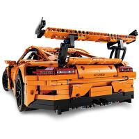 科技系列积木保时捷911gt3rs跑车拼装模型机械组改装玩具