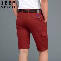 JEEP吉普短裤2019夏季多袋工装裤棉质五分裤宽松大码男裤休闲中裤