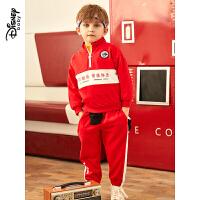 【2件5折后价:184.5元】迪士尼童装儿童运动休闲两件套男童时尚半高领卫衣套装国潮帅气