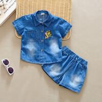 童装男童套装夏装1-3岁女宝宝牛仔两件套儿童
