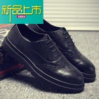 新品上市香港购新款男士休闲鞋英伦厚底雕花小皮鞋男鞋真皮商务鞋