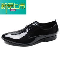 新品上市意大利男鞋漆皮英伦风婚鞋男士商务正装皮鞋真皮尖头亮皮德比鞋