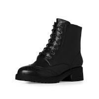 爱旅儿哈森旗下帅气军靴英伦低跟方跟学院风系带短靴女EA65008