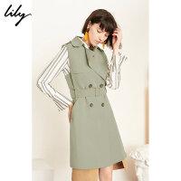 【2件4折到手价:287.6元】 Lily春新款女装帅气风衣式长款系带修身通勤马夹119140C0203