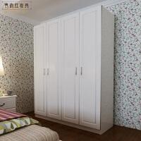 平开门模压衣橱白色简约欧式组装衣柜实木家具 整体衣柜 2门