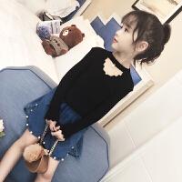 童装女童针织衫洋气春装毛线衣套头儿童打底衫