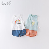 davebella戴维贝拉男女童套装夏季新款宝宝卡通可爱两件套