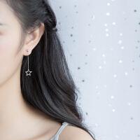 女小清新镂空五角星可爱短款耳坠饰品s925银星星耳环