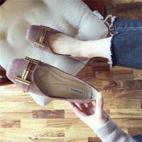 方头平底鞋韩版简约浅口套脚瓢鞋条纹拼色工作鞋2019新款单鞋女鞋