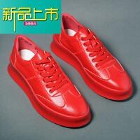 新品上市厚底增高鞋英伦百搭低帮圆头休闲板鞋男韩版潮流小白鞋松糕鞋皮鞋