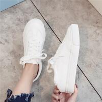 百搭基础板鞋帆布鞋网红女鞋2018秋季新款厚底内增高小白鞋女韩版
